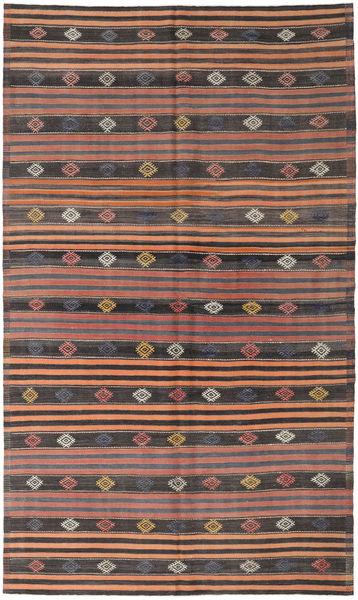Kelim Turkije Vloerkleed 186X318 Echt Oosters Handgeweven Bruin/Zwart (Wol, Turkije)