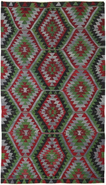 Kelim Turkije Vloerkleed 160X280 Echt Oosters Handgeweven Donkergroen/Donkerrood/Donkergrijs (Wol, Turkije)