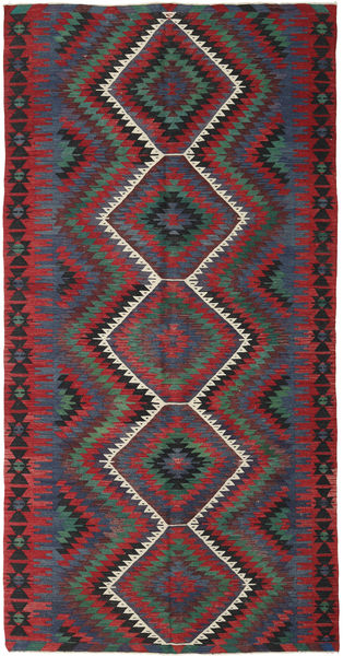 Kelim Turkije Vloerkleed 155X296 Echt Oosters Handgeweven Donkerrood/Zwart (Wol, Turkije)