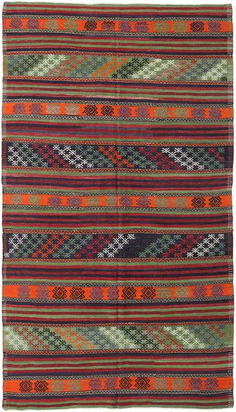 Kelim Turkije Vloerkleed 180X315 Echt Oosters Handgeweven Donkerrood/Donkergrijs (Wol, Turkije)