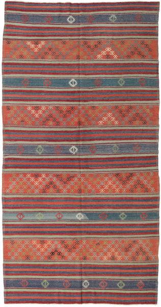 Kelim Turkije Vloerkleed 167X323 Echt Oosters Handgeweven Donkerrood/Purper (Wol, Turkije)