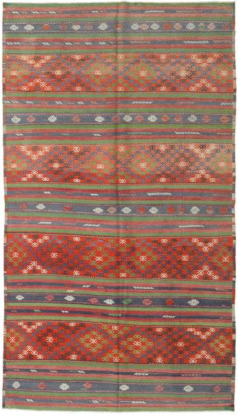Kelim Turkije Vloerkleed 180X317 Echt Oosters Handgeweven Donkerrood/Roestkleur (Wol, Turkije)