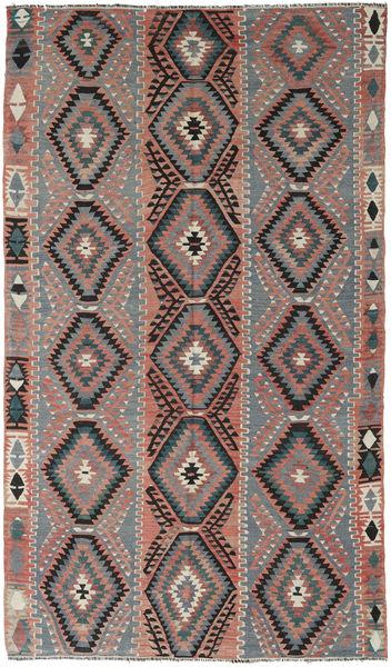Kelim Turkije Vloerkleed 160X267 Echt Oosters Handgeweven Donkergrijs/Donkergroen (Wol, Turkije)