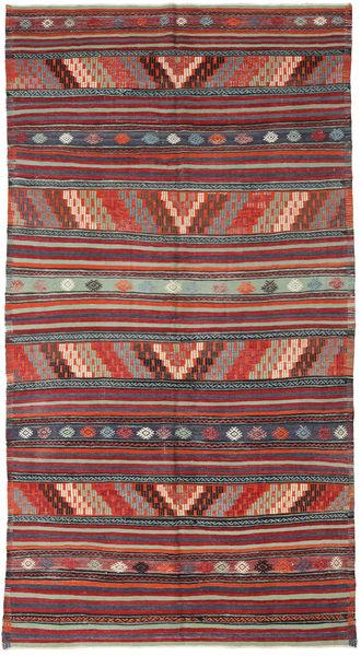 Kelim Turkije Vloerkleed 178X330 Echt Oosters Handgeweven Donkerrood/Donkergrijs (Wol, Turkije)