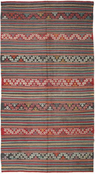 Kelim Turkije Vloerkleed 167X314 Echt Oosters Handgeweven Donkerrood/Donkergrijs (Wol, Turkije)
