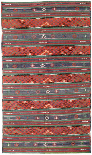Kelim Turkije Vloerkleed 170X296 Echt Oosters Handgeweven Donkerrood/Donkergroen (Wol, Turkije)