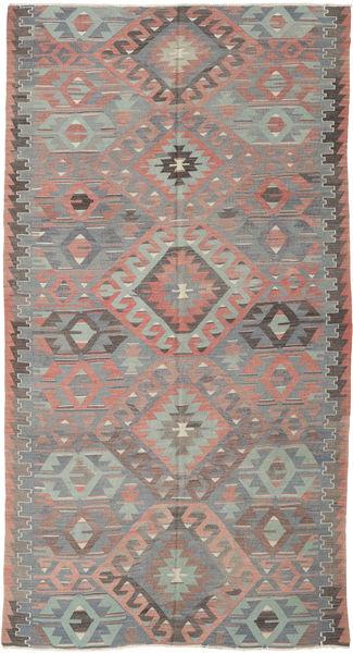 Kelim Turkije Vloerkleed 164X308 Echt Oosters Handgeweven Donkergrijs/Lichtgrijs (Wol, Turkije)