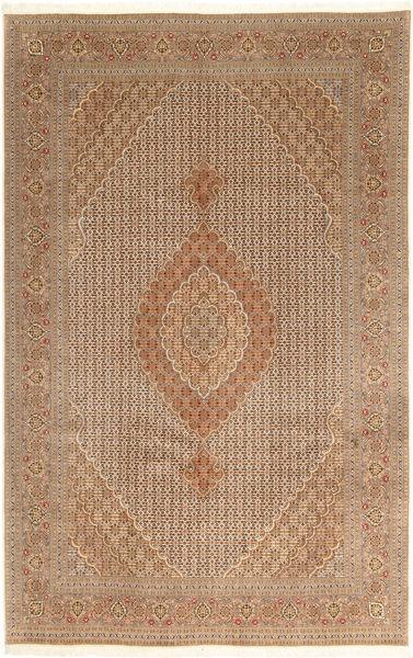 Tabriz 40 Raj Vloerkleed 203X314 Echt Oosters Handgeknoopt Bruin/Lichtbruin (Wol/Zijde, Perzië/Iran)