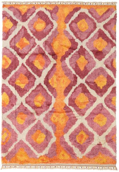 Handknotted Berber Shaggy Vloerkleed 196X281 Echt Modern Handgeknoopt Oranje/Roestkleur (Wol, Turkije)