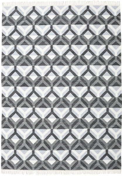 Aino Vloerkleed 210X290 Echt Modern Handgeweven Wit/Creme/Lichtblauw (Wol/Bamboezijde, India)