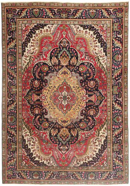 Tabriz Patina Vloerkleed 210X297 Echt Oosters Handgeknoopt Donkerrood/Donkerbruin/Bruin (Wol, Perzië/Iran)