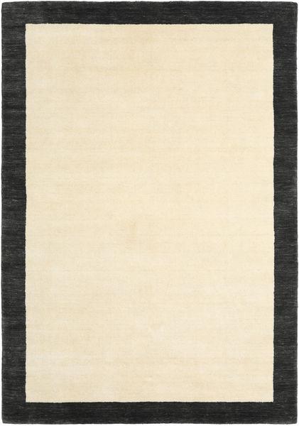 Handloom Frame - Zwart/Wit Vloerkleed 160X230 Modern Beige/Zwart (Wol, India)