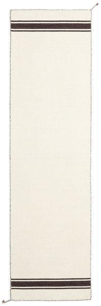 Ernst - Gebroken Wit/Bruin Vloerkleed 80X400 Echt Modern Handgeweven Tapijtloper Beige (Wol, India)