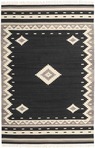 Tribal - Zwart Vloerkleed 200X300 Echt Modern Handgeweven Zwart/Beige (Wol, India)