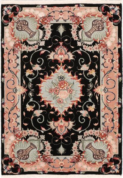 Tabriz 50 Raj Met Zijde Vloerkleed 67X95 Echt Oosters Handgeknoopt Zwart/Lichtgrijs (Wol/Zijde, Perzië/Iran)
