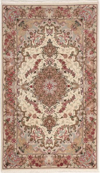 Tabriz 50 Raj Met Zijde Vloerkleed 75X127 Echt Oosters Handgeknoopt Beige/Donkerbruin (Wol/Zijde, Perzië/Iran)
