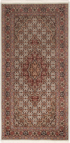 Tabriz 50 Raj Vloerkleed 67X140 Echt Oosters Handgeknoopt Donkerbruin/Donkerrood (Wol/Zijde, Perzië/Iran)