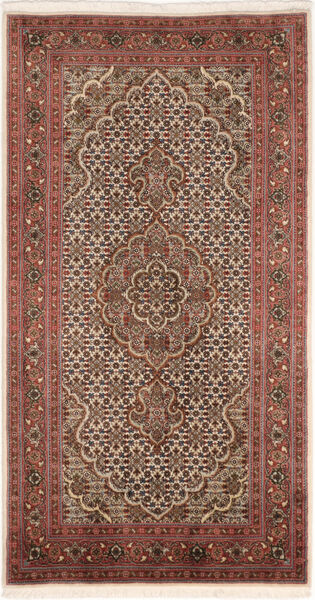 Tabriz 50 Raj Vloerkleed 71X142 Echt Oosters Handgeknoopt Donkerbruin/Bruin (Wol/Zijde, Perzië/Iran)