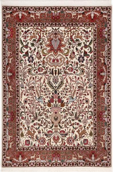 Tabriz 50 Raj Met Zijde Vloerkleed 105X155 Echt Oosters Handgeknoopt Donkerbruin/Donkerrood (Wol/Zijde, Perzië/Iran)