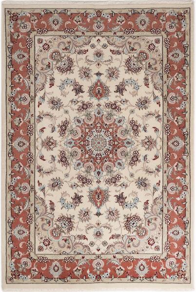 Tabriz 50 Raj Met Zijde Vloerkleed 110X158 Echt Oosters Handgeknoopt Lichtgrijs/Lichtbruin (Wol/Zijde, Perzië/Iran)