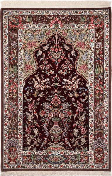Ghom Kork/Zijde Vloerkleed 110X160 Echt Oosters Handgeknoopt Donkerrood/Donkerbruin (Wol/Zijde, Perzië/Iran)