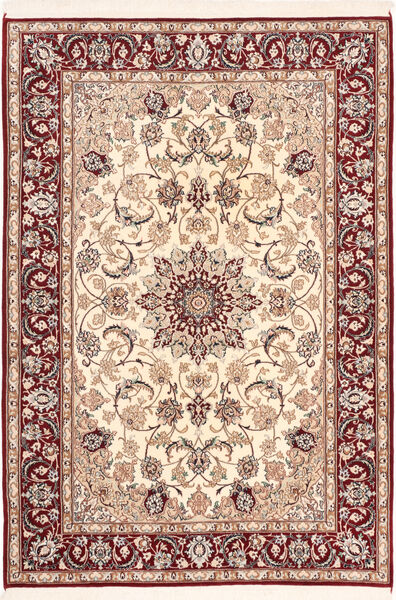 Isfahan Zijden Pool Vloerkleed 113X163 Echt Oosters Handgeknoopt Donkerrood/Beige (Wol/Zijde, Perzië/Iran)