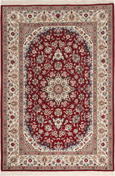 Isfahan Zijden Pool Vloerkleed 108X164 Echt Oosters Handgeknoopt Donkerrood/Lichtgrijs (Wol/Zijde, Perzië/Iran)