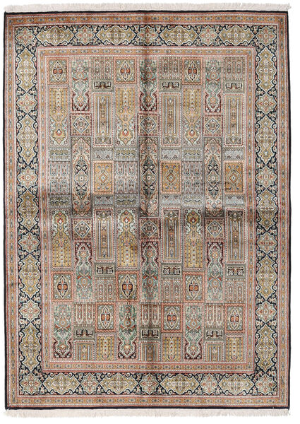Kashmir Puur Zijde Vloerkleed 155X214 Echt Oosters Handgeknoopt Lichtgrijs/Bruin (Zijde, India)