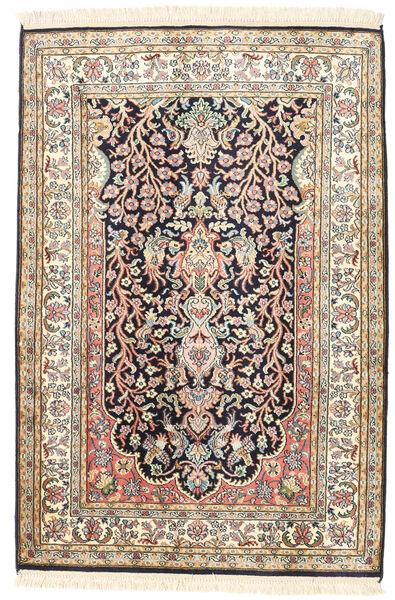 Kashmir Puur Zijde Vloerkleed 81X120 Echt Oosters Handgeknoopt Beige/Donkergrijs (Zijde, India)
