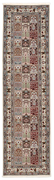 Moud Sherkat Farsh Vloerkleed 80X300 Echt Oosters Handgeknoopt Tapijtloper Lichtgrijs/Beige (Wol/Zijde, Perzië/Iran)