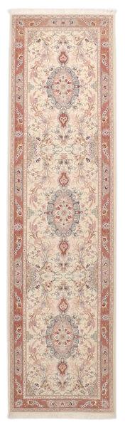 Tabriz 50 Raj Vloerkleed 86X322 Echt Oosters Handgeknoopt Tapijtloper Beige/Wit/Creme (Wol/Zijde, Perzië/Iran)