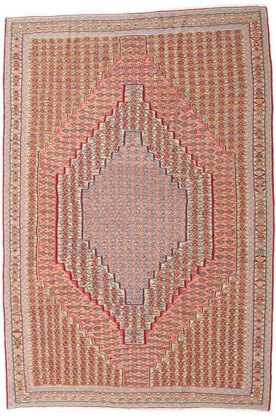 Kelim Senneh Vloerkleed 203X306 Echt Oosters Handgeweven Donkerrood/Lichtbruin (Wol, Perzië/Iran)