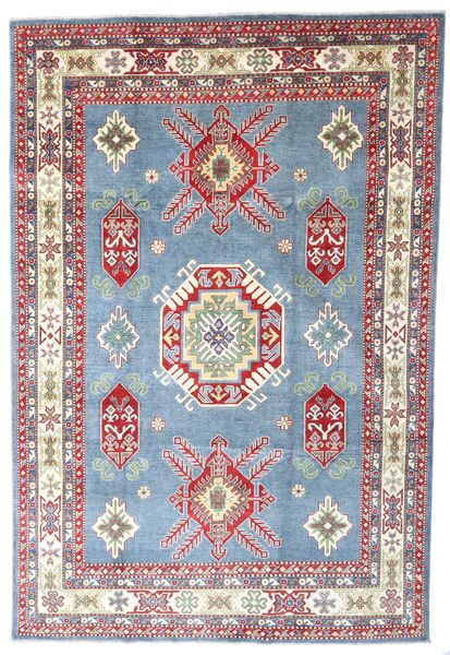 Kazak Vloerkleed 202X298 Echt Oosters Handgeknoopt Lichtblauw/Licht Paars (Wol, Afghanistan)