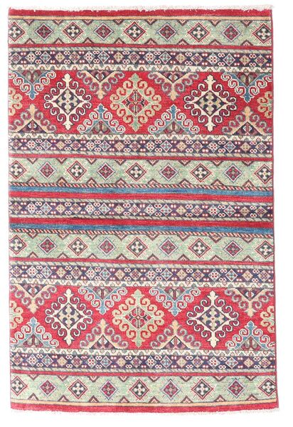 Kazak Vloerkleed 96X147 Echt Oosters Handgeknoopt Purper/Lichtgrijs (Wol, Afghanistan)