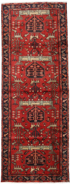 Hamadan Vloerkleed 105X284 Echt Oosters Handgeknoopt Tapijtloper Donkerrood/Roestkleur (Wol, Perzië/Iran)