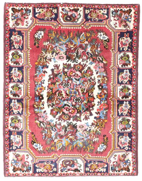 Bakhtiar Vloerkleed 109X142 Echt Oosters Handgeknoopt Beige/Lichtroze (Wol, Perzië/Iran)