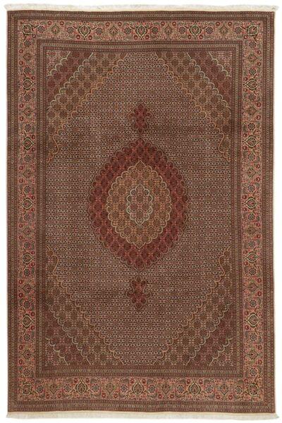 Tabriz 50 Raj Vloerkleed 207X307 Echt Oosters Handgeknoopt Bruin/Donkerbruin (Wol/Zijde, Perzië/Iran)