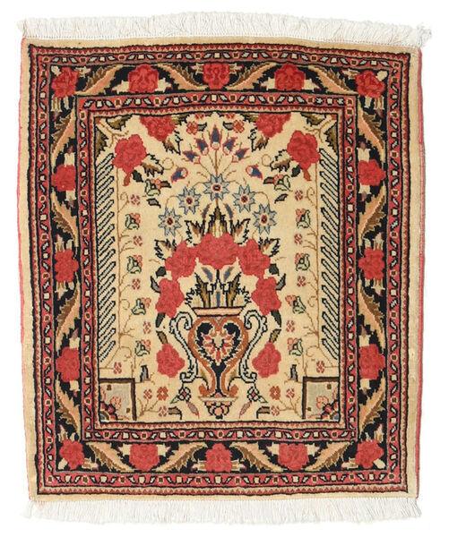 Sarough Vloerkleed 51X60 Echt Oosters Handgeknoopt Vierkant Donkerbeige/Donkerbruin (Wol, Perzië/Iran)