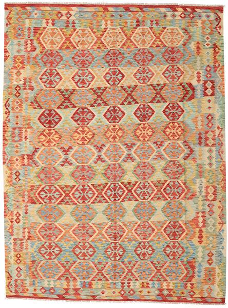 Kelim Afghan Old Style Vloerkleed 259X348 Echt Oosters Handgeweven Donkerbeige/Rood Groot (Wol, Afghanistan)