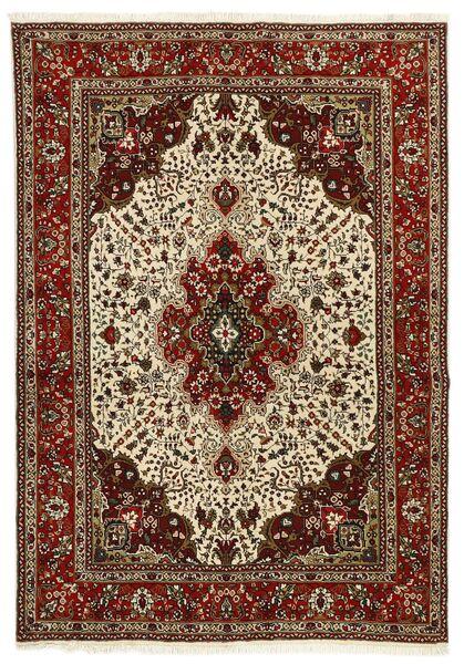 Tabriz 40 Raj Vloerkleed 147X206 Echt Oosters Handgeweven Donkerbruin/Lichtbruin (Wol/Zijde, Perzië/Iran)