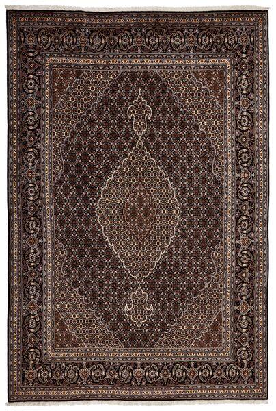 Tabriz 40 Raj Vloerkleed 198X298 Echt Oosters Handgeweven Donkerrood/Lichtbruin (Wol/Zijde, Perzië/Iran)