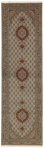Tabriz 50 Raj Vloerkleed 83X302 Echt Oosters Handgeweven Tapijtloper Lichtgrijs/Donkerbruin/Bruin (Wol/Zijde, Perzië/Iran)