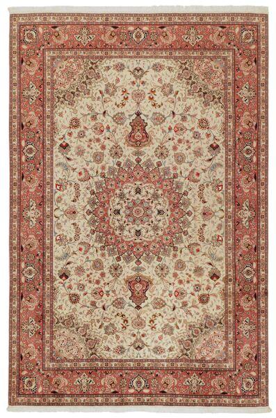 Tabriz 50 Raj Vloerkleed 202X308 Echt Oosters Handgeknoopt Bruin/Lichtbruin (Wol/Zijde, Perzië/Iran)