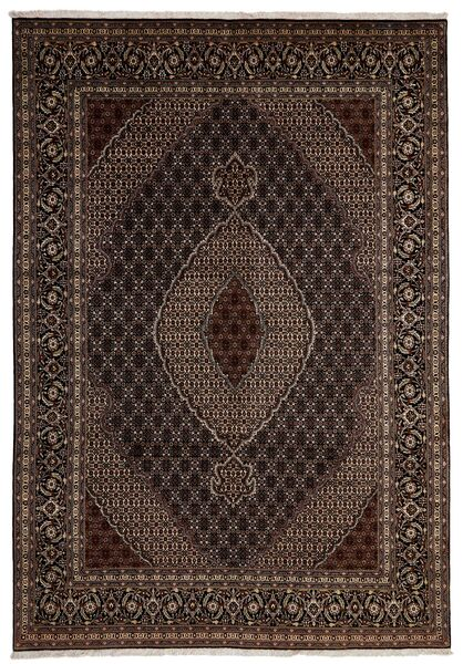 Tabriz 40 Raj Vloerkleed 204X293 Echt Oosters Handgeknoopt Donkerrood/Donkerbruin (Wol/Zijde, Perzië/Iran)