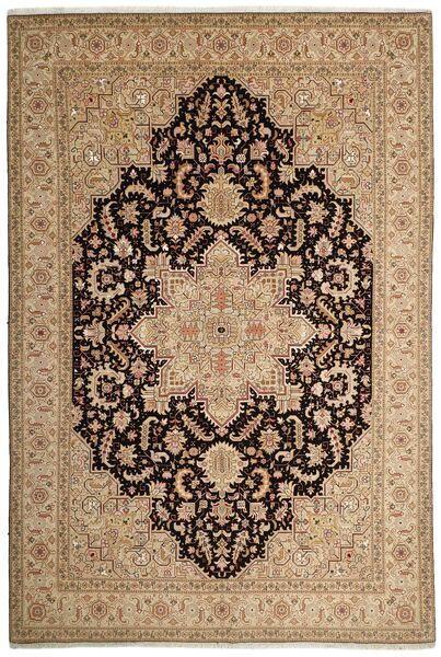 Tabriz 50 Raj Vloerkleed 200X294 Echt Oosters Handgeweven Lichtbruin/Donkerbeige (Wol/Zijde, Perzië/Iran)