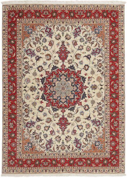 Tabriz 50 Raj Vloerkleed 151X210 Echt Oosters Handgeweven Lichtgrijs/Donkerrood (Wol/Zijde, Perzië/Iran)