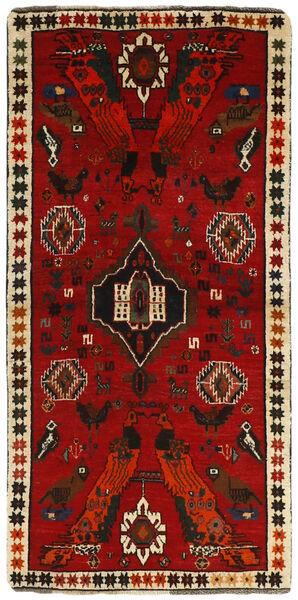 Ghashghai Vloerkleed 85X170 Echt Oosters Handgeknoopt Tapijtloper Donkerrood/Roestkleur (Wol, Perzië/Iran)