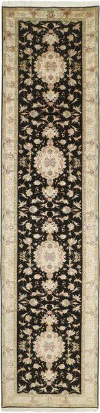 Tabriz 50 Raj Vloerkleed 88X397 Echt Oosters Handgeknoopt Tapijtloper Donkerbruin/Beige (Wol/Zijde, Perzië/Iran)
