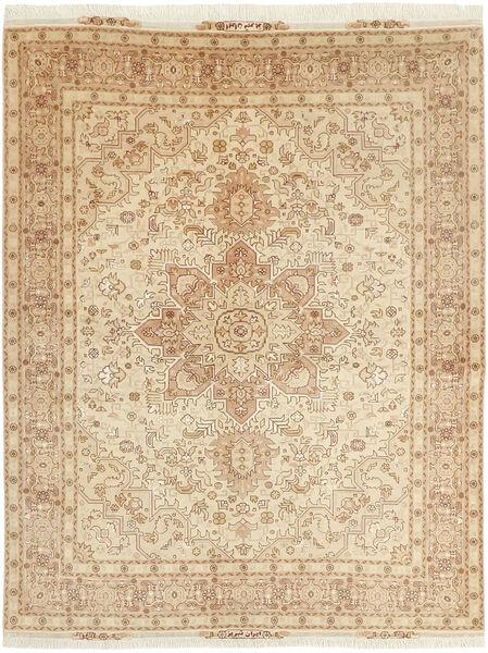 Tabriz 50 Raj Vloerkleed 152X202 Echt Oosters Handgeweven Beige/Donkerbeige (Wol/Zijde, Perzië/Iran)