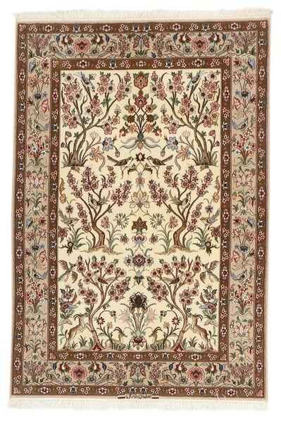 Isfahan Zijden Pool Vloerkleed 109X161 Echt Oosters Handgeweven Beige/Bruin (Wol/Zijde, Perzië/Iran)